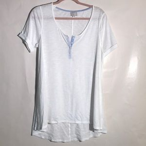 Anthropologie tunic top short sleeves white large